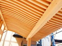 玄関の庇の垂木は曲線がキレイです。      宮大工の技